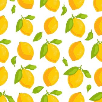 Patrón sin fisuras de limones sobre fondo blanco. ilustración de vector de estilo plano.