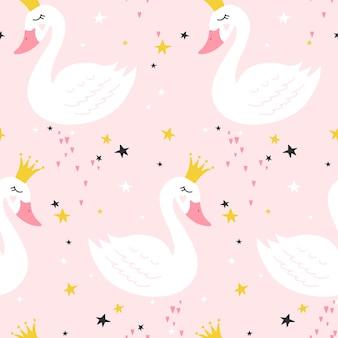 Patrón sin fisuras con linda princesa cisne sobre fondo rosa.