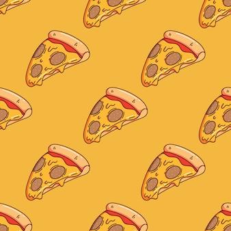 Patrón sin fisuras de linda rebanada de pizza con estilo doodle