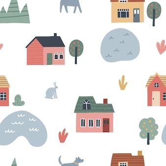 Patrón sin fisuras con lindas casas de pueblo. ilustración de vector dibujado a mano para diseño de niños.