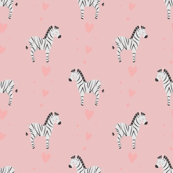 Patrón sin fisuras con lindas cebras y corazones sobre un fondo rosa para envolver textiles para bebés
