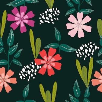 Patrón sin fisuras de lindas flores pastel