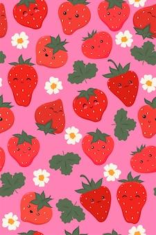 Patrón sin fisuras con lindas fresas.