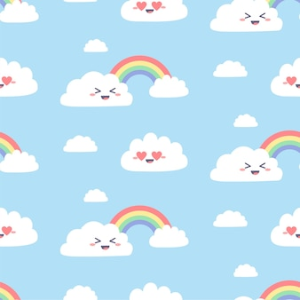 Patrón sin fisuras con lindas nubes kawaii. personajes de nubes simples con arco iris en azul.