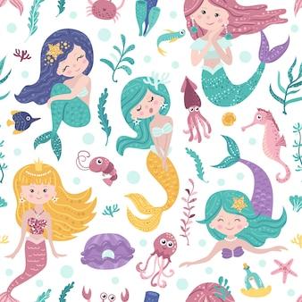 Patrón sin fisuras con lindas sirenas, algas y peces