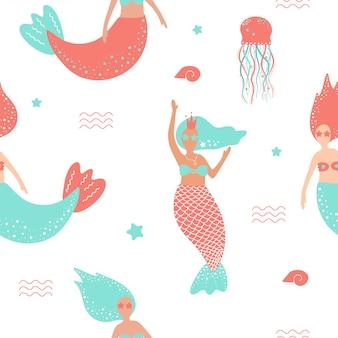 Patrón sin fisuras con lindas sirenas y medusas.
