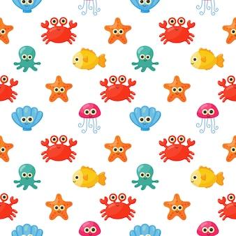 Patrón sin fisuras lindo divertido mar y océano animales dibujos animados aislado
