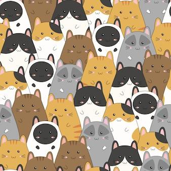 Patrón sin fisuras con lindo gatito familia dibujos animados, ilustración vectorial