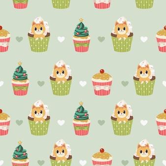 El patrón sin fisuras de lindo gato y cupcake para navidad y fiesta navideña con estilo de vector plano.