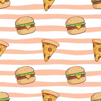 Patrón sin fisuras de lindo hamburguesa y rebanada de pizza con estilo doodle