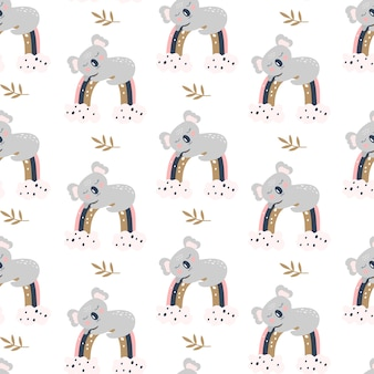 Patrón sin fisuras con lindo koala sobre un fondo blanco.