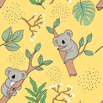 Patrón sin fisuras con lindo koala.