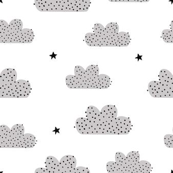 Patrón sin fisuras con un lindo logo y estrellas sobre un fondo blanco ilustración vectorial