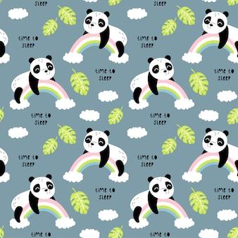Patrón sin fisuras con lindo panda.