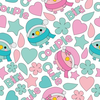 Patrón sin fisuras con lindo par de aves vector de dibujos animados adecuado para el diseño de papel tapiz de cumpleaños de niño, papel de desecho y tela de ropa de niño de ropa