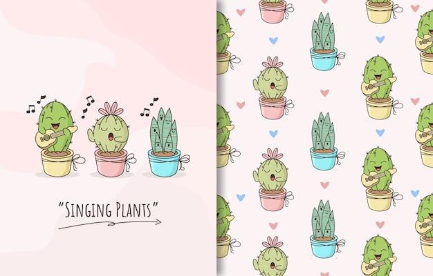 Patrón sin fisuras con un lindo personaje de cactus de plantas cantando