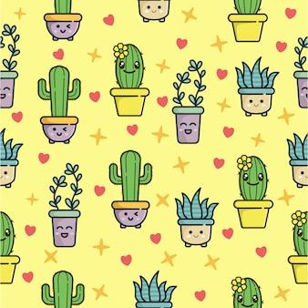 Patrón sin fisuras con lindo personaje de cactus