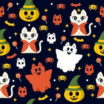 Patrón sin fisuras con un lindo personaje de gato de halloween