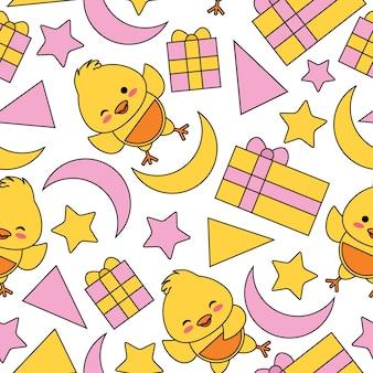 Patrón sin fisuras con lindo polluelo, caja de regalo y estrellas vector de dibujos animados adecuado para el diseño de papel tapiz de cumpleaños de niño, papel de desecho y tela de ropa de niño de ropa