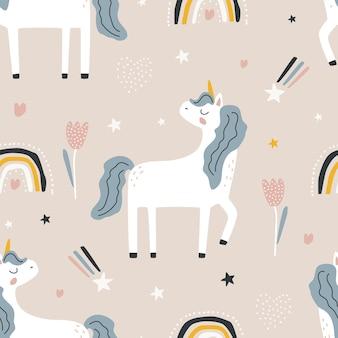 Patrón sin fisuras con un lindo unicornio y un arco iris sobre un fondo de color ilustración vectorial