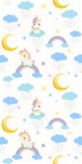Patrón sin fisuras de lindo unicornio arcoiris sentado en un arco iris sobre fondo blanco.