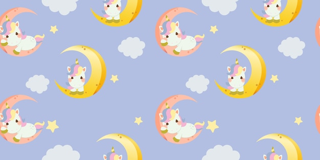 Patrón sin fisuras de lindo unicornio arcoiris sentado en la luna