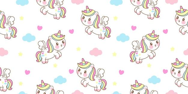 Patrón sin fisuras lindo unicornio pegaso mosca de dibujos animados con nube kawaii animal