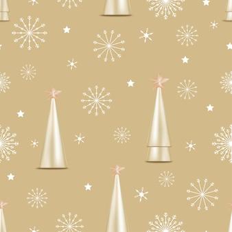 Patrón sin fisuras con lindos copos de nieve, estrella y árbol de navidad cónico dorado