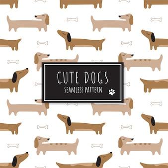 Patrón sin fisuras con lindos dachshunds rojos.