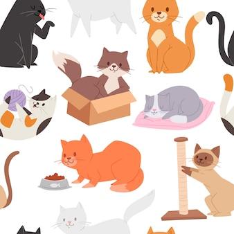Patrón sin fisuras con lindos gatitos atigrados. personaje de dibujos animados gatito infantil