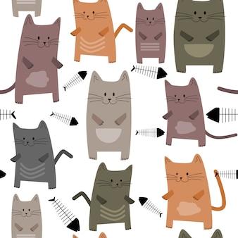 Patrón sin fisuras lindos gatitos y espina de pez.