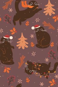 Patrón sin fisuras con lindos gatos navideños marrones.