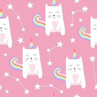 Patrón sin fisuras con lindos gatos unicornio.