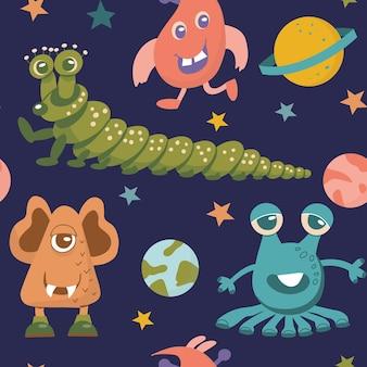 Patrón sin fisuras de lindos monstruos alienígenas y varios planetas y estrellas galácticas