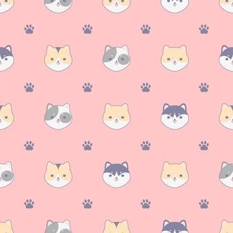 Patrón sin fisuras con lindos perros y huella, diseño para telas, textiles, concepto de diseño de papel tapiz.