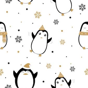 Patrón sin fisuras de lindos pingüinos y copos de nieve