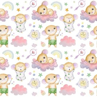 Patrón sin fisuras con lindos ratones nubes estrellas y arco iris sobre un fondo blanco textil para niños