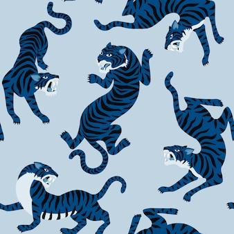 Patrón sin fisuras con lindos tigres en el fondo.