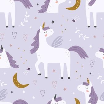 Patrón sin fisuras con lindos unicornios y elementos decorativos sobre un fondo de color vector