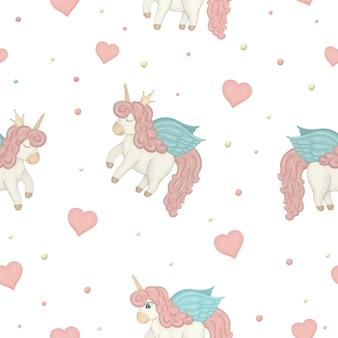 Patrón sin fisuras con lindos unicornios estilo acuarela, círculos de colores y corazones.