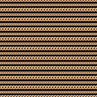 Patrón sin fisuras de líneas de cadena de oro sobre fondo negro.