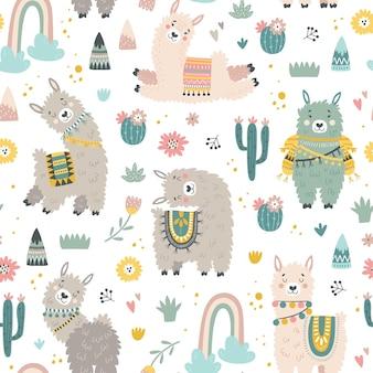 Patrón sin fisuras con llama, cactus, arco iris y elementos dibujados a mano.