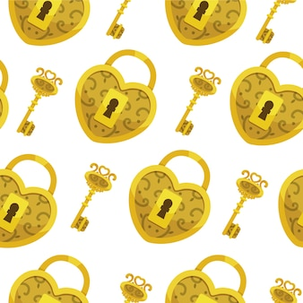 Patrón sin fisuras con llave. fondo de corazones y llaves de bloqueo de oro.