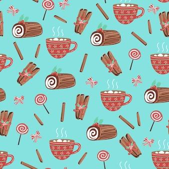 Patrón sin fisuras con madera, dulces y taza de café.