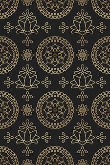 Patrón sin fisuras con mandala de ornamento indio, loto y flor en motivos orientales degradado dorado sobre fondo negro