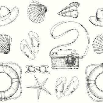 Patrón sin fisuras con mano dibujado accesorios de verano de los hombres