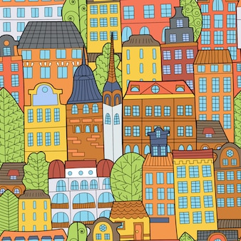 Patrón sin fisuras de mano dibujado casas de dibujos animados.