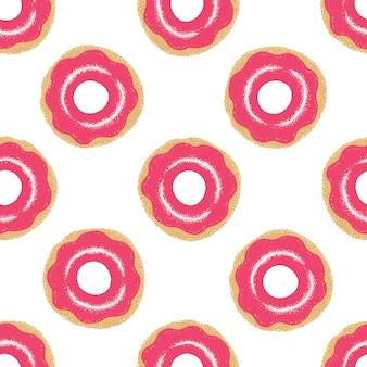 Patrón sin fisuras con mano dibujado donas glaseadas. colores rosa ilustracion vectorial