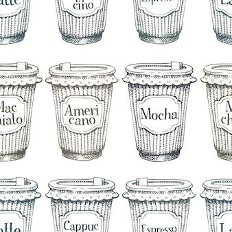 Patrón sin fisuras con mano dibujado tazas de café para ir