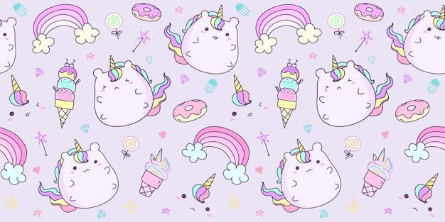 Patrón sin fisuras con mano dibujado unicornio en color pastel